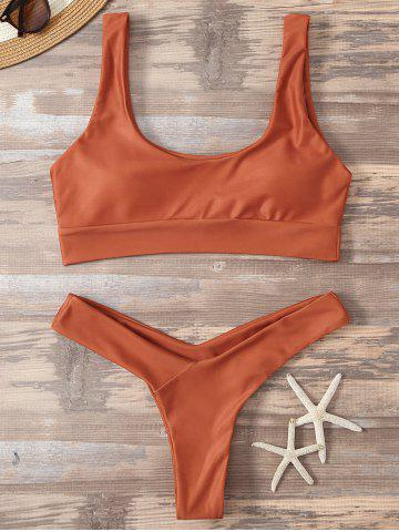 Outfits High Cut Sporty Two Piece Swimsuit ORANGE RED M