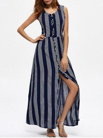 Online Ankle Length Vertical Striped Maxi Slit Dress PURPLISH BLUE XL