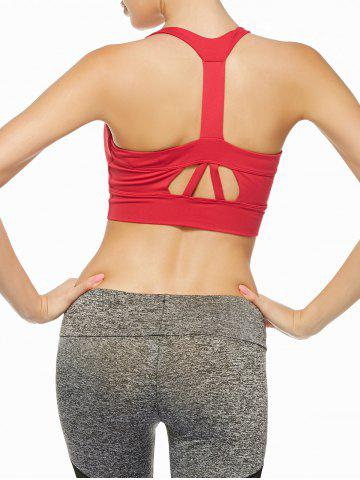 Sale Cutout Padded Sports Racerback Bra - S RED Mobile