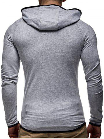 Sale Contrast Trim Raglan Sleeve Hoodie - XL LIGHT GRAY Mobile