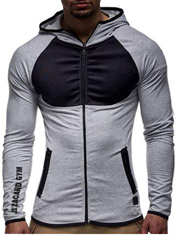 New Contrast Trim Raglan Sleeve Hoodie - XL LIGHT GRAY Mobile
