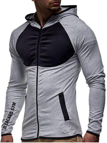 Fashion Contrast Trim Raglan Sleeve Hoodie - XL LIGHT GRAY Mobile