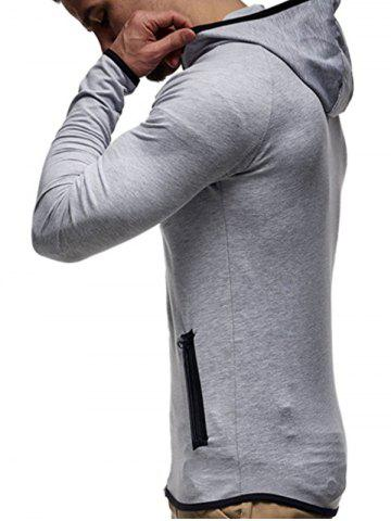 Cheap Contrast Trim Raglan Sleeve Hoodie - XL LIGHT GRAY Mobile