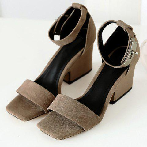 Best Suede Block Heel Ankle Strap Sandals - 38 APRICOT Mobile
