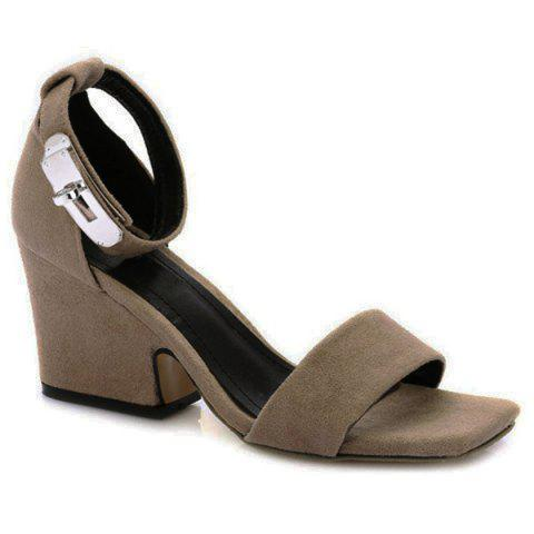 Outfits Suede Block Heel Ankle Strap Sandals - 38 APRICOT Mobile