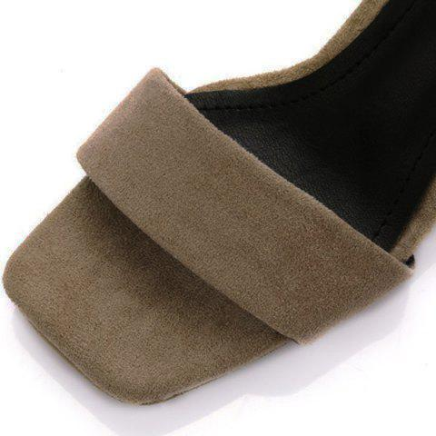 Cheap Suede Block Heel Ankle Strap Sandals - 38 APRICOT Mobile