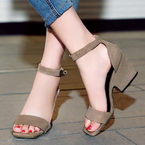New Suede Block Heel Ankle Strap Sandals - 38 APRICOT Mobile