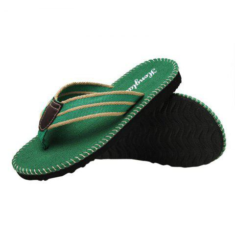 Unique Striped Letter Pattern Flip Flops - 40 GREEN Mobile