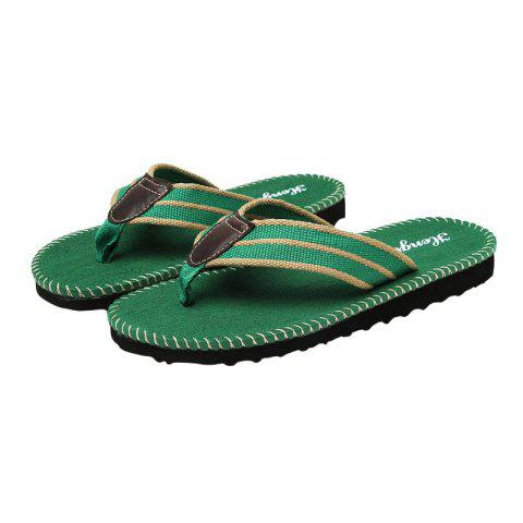 Buy Striped Letter Pattern Flip Flops - 40 GREEN Mobile