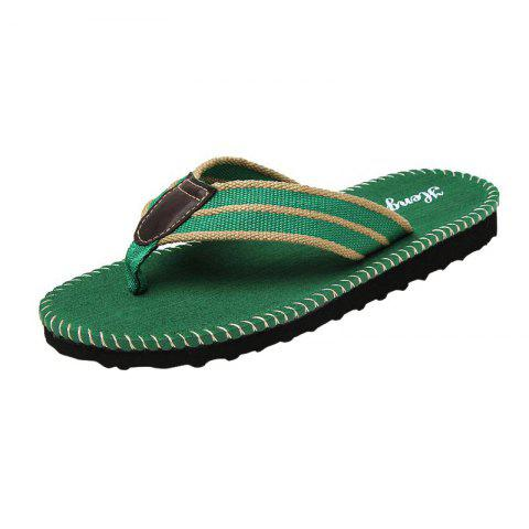 Fancy Striped Letter Pattern Flip Flops - 40 GREEN Mobile