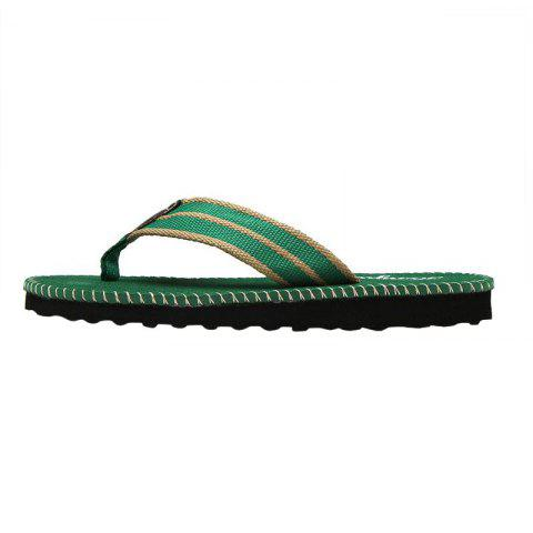 Store Striped Letter Pattern Flip Flops - 40 GREEN Mobile