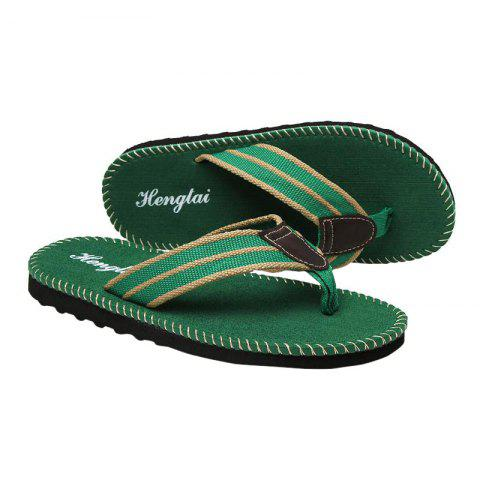 Fashion Striped Letter Pattern Flip Flops - 40 GREEN Mobile