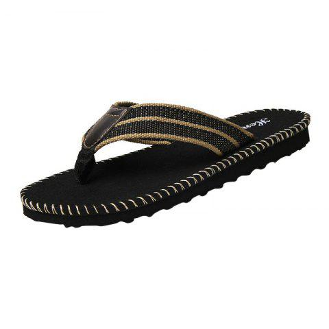 Shops Striped Letter Pattern Flip Flops BLACK 43