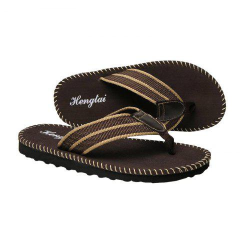 Outfits Striped Letter Pattern Flip Flops - 43 BROWN Mobile