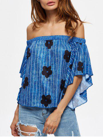 Latest Off The Shoulder Striped Floral Print Tee