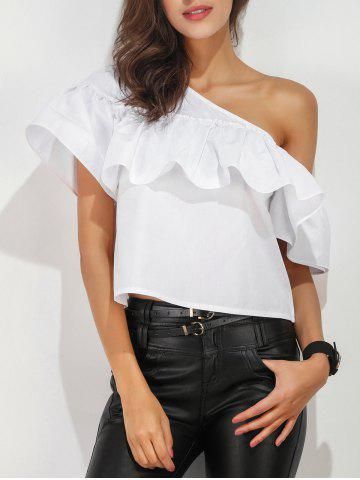 Discount Ruffle Layer One Shoulder Blouse WHITE XL