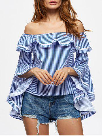 New Off The Shoulder Striped Flounce Blouse STRIP PATTERN L
