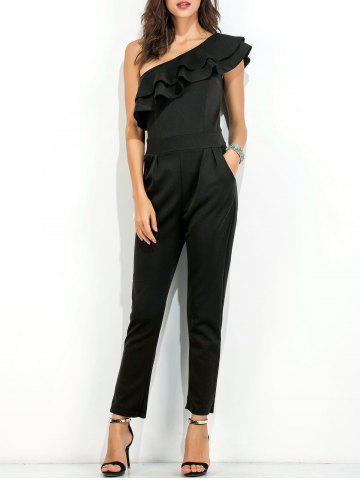 Online Ruffle Layer One Shoulder Jumpsuit BLACK M