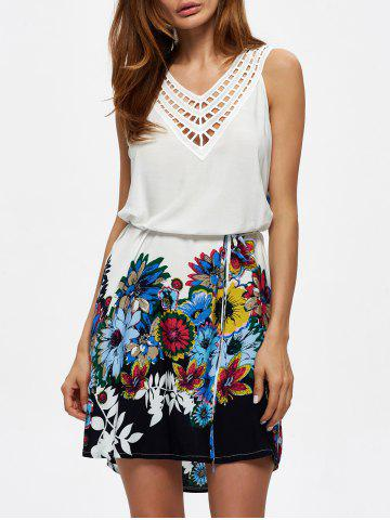 V Neck Crochet Panel Floral Print Dress - White - Xl