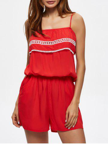 Buy Convertible Flounce Lace Insert Romper with Pockets RED 2XL