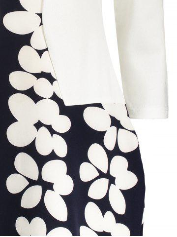 Outfit Notched Floral Print Sheath Dress - L BLACK WHITE Mobile