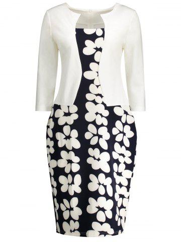 Best Notched Floral Print Sheath Dress