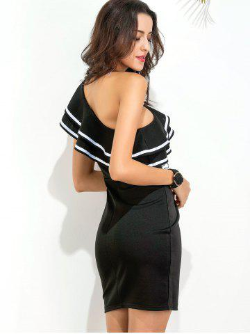 Best Ruffle One Shoulder Bodycon Dress - L BLACK Mobile