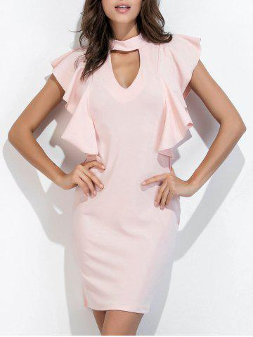 Sale Ruffle Choker Neck Bodycon Dress Short Club Dresses - S PINK Mobile