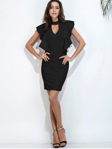 Unique Ruffle Choker Neck Bodycon Dress Short Club Dresses - S BLACK Mobile