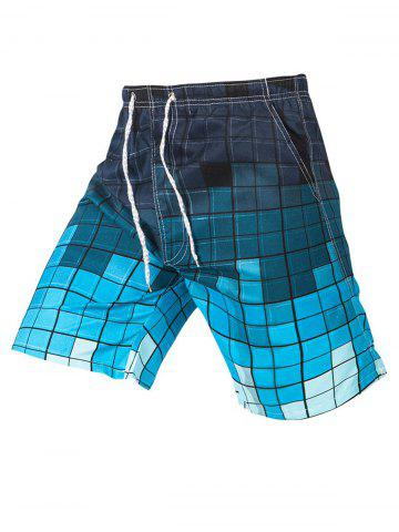 Buy Colorblock Drawstring Plaid Casual Shorts - 4XL WHITE + GREY Mobile