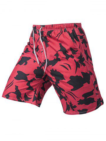Best Drawstring Print Board Shorts - XL RED Mobile