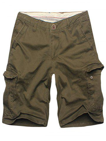 Hot Multi Flap Pockets Cargo Shorts - 36 ARMY GREEN Mobile