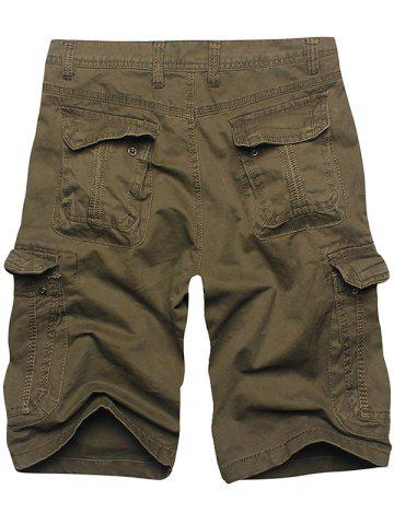 Discount Multi Flap Pockets Cargo Shorts - 38 ARMY GREEN Mobile