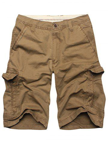 Chic Multi Flap Pockets Cargo Shorts - 36 KHAKI Mobile