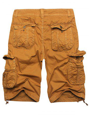 Sale Zip Fly Multi Pockets Cargo Shorts - EARTHY 36 Mobile