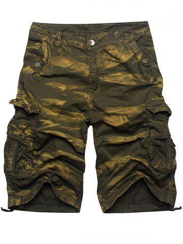 Online Zip Fly Multi Pockets Cargo Shorts - ARMY GREEN CAMOUFLAGE 36 Mobile