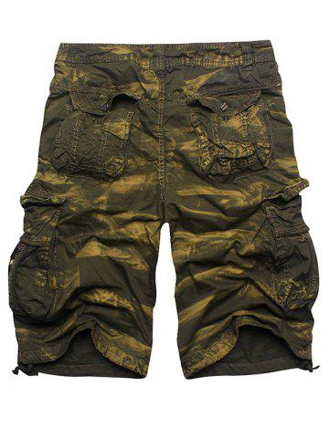 Latest Zip Fly Multi Pockets Cargo Shorts - ARMY GREEN CAMOUFLAGE 36 Mobile