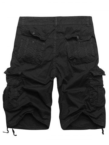 Cheap Zip Fly Multi Pockets Cargo Shorts - BLACK 36 Mobile