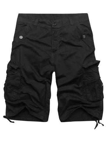 Fashion Zip Fly Multi Pockets Cargo Shorts - BLACK 36 Mobile