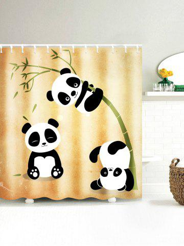 Affordable Three Pandas Play With Bamboo Waterproof Shower Curtain - 150*180CM EARTHY Mobile