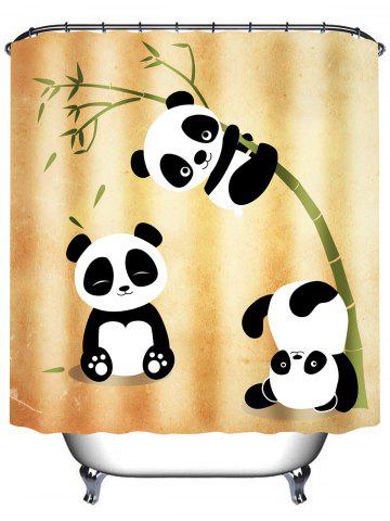 Cheap Three Pandas Play With Bamboo Waterproof Shower Curtain - 180*200CM EARTHY Mobile
