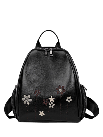 Best Faux Leather Flower Embroidery Backpack BLACK