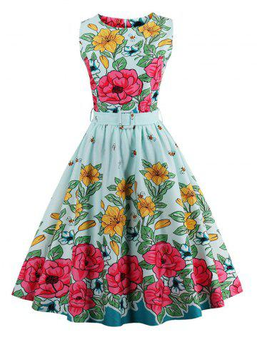 Vintage Floral Print Flare Dress - LIGHT GREEN M