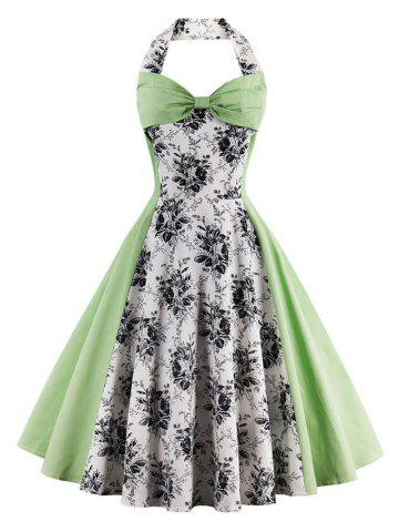 Shop Vintage Halter Floral Pin Up A Line Dress - 2XL LIGHT GREEN Mobile