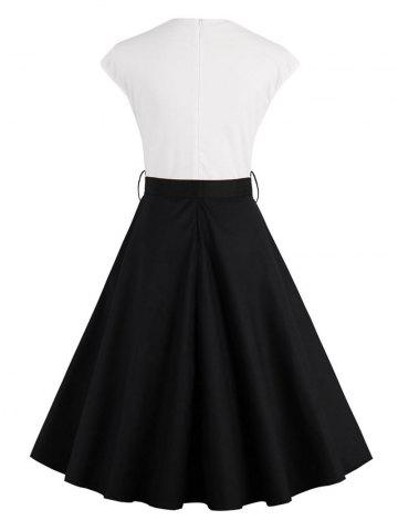Latest Two Tone Vintage Pin Up Dress - 2XL BLACK Mobile