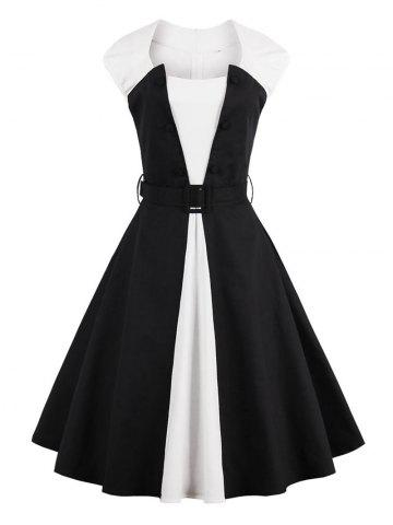 Chic Two Tone Vintage Pin Up Dress - 2XL BLACK Mobile