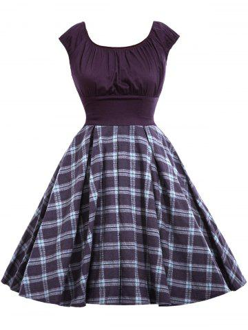 New Vintage Checked A Line Dress - L DEEP PURPLE Mobile
