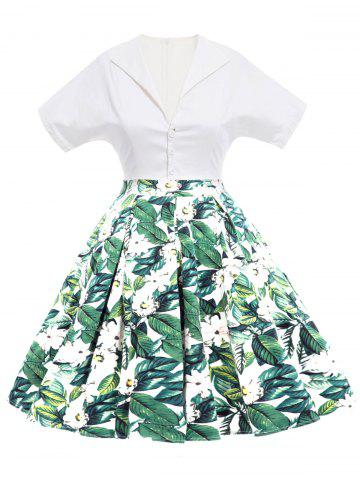 Outfit Vintage Floral Print Flare Dress - M GREEN Mobile