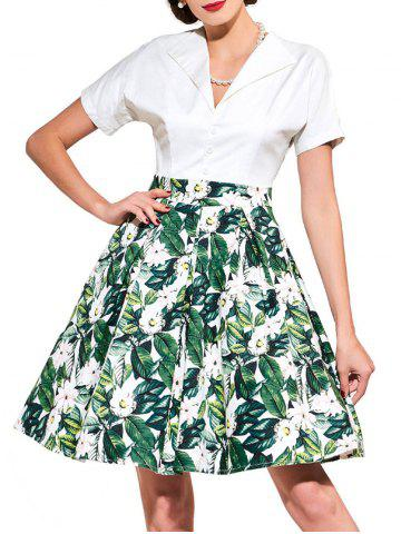Cheap Vintage Floral Print Flare Dress - XL GREEN Mobile