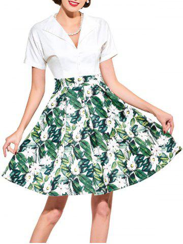 Fancy Vintage Floral Print Flare Dress - XL GREEN Mobile